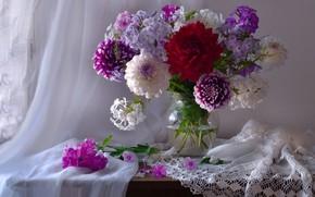 Picture bouquet, Phlox, dahlias