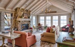 Wallpaper living room, interior, Shores of Green Fern, room