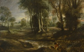 Picture trees, picture, Peter Paul Rubens, Pieter Paul Rubens, Evening Landscape with a Cart