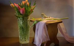 Wallpaper fabric, tulips, bird, vase