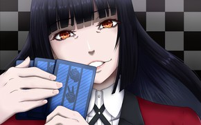 Picture girl, anime, red eyes, face, japanese, bishojo, seifuku, Kakegurui, Compulsive Gambler, Yumi Located In Jabami