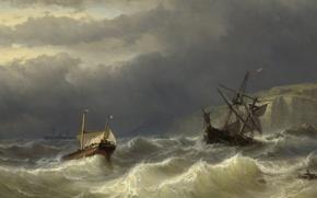 Picture tree, ship, oil, picture, seascape, Louis Meyer, Storm in Pas-de-Calais