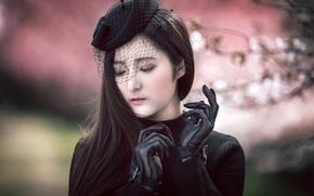 Picture girl, portrait, gloves, hat, Asian, veil, Misaki
