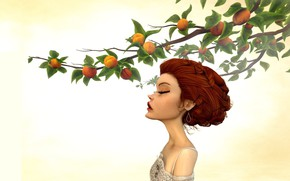 Picture girl, branch, garden, peaches, Jason Knight, Last Morning of Spring