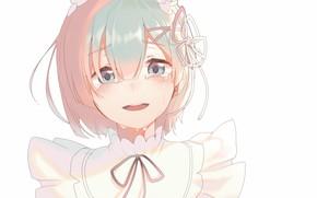 Picture face, tears, white background, bow, blue hair, bangs, ruffles, Re: Zero Kara Hajime Chip Isek …