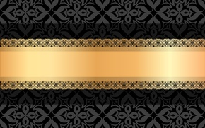 Picture flowers, background, pattern, black, vector, texture, ornament, gold ribbon