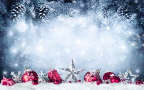 Wallpaper New Year, Christmas, christmas, balls, winter, snow, merry christmas, gift, decoration, xmas, fir tree