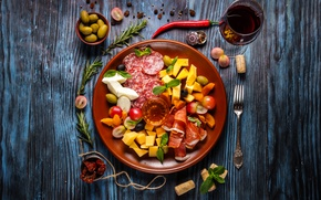 Wallpaper cutting, salami, meat, spices, wood, sausage, bacon, cheese, wine, vegetables, cuts