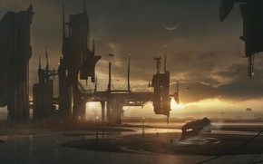 Picture planet, facilities, Shipyard, space-station