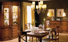 Wallpaper table, furniture, interior, chandelier, pictures, dining room, serving