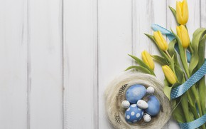 Wallpaper spring, decor, wood, bouquet, Easter, Easter, tulips, holiday, tape, eggs