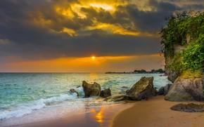 Wallpaper sea, wave, beach, summer, the sky, sunset, stones, shore, summer, beach, sky, sea, sunset, seascape, ...