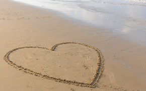 Picture sand, sea, wave, beach, summer, love, heart, summer, love, beach, sea, heart, romantic, sand, wave