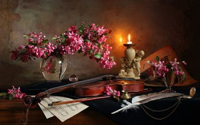 Picture flowers, notes, pen, violin, candle, vase