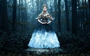 Picture forest, girl, dress, Bella Kotak, Daughter of Spring