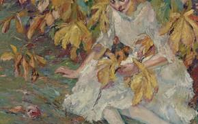 Picture girl, picture, Edward Cucuel, Edward Cucuel, In The Autumn Sun