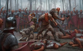 Wallpaper forest, weapons, battle, warrior, armor, barbarian, Legionnaire