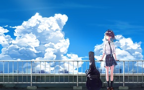 Picture the sky, girl, clouds, guitar, anime, art, tie, form, schoolgirl