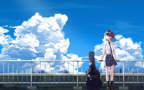 Picture the sky, girl, clouds, guitar, anime, art, tie, form, schoolgirl