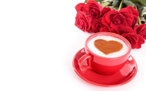 Wallpaper white background, saucer, Valentine's day, roses, coffee, red, bouquet, Cup, heart, flowers