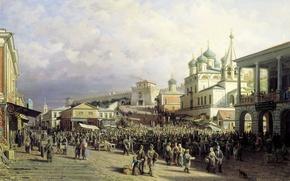 Picture people, oil, temple, Canvas, 1872, Peter Vereshchagin, The market in Nizhny Novgorod