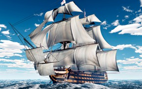 Picture sea, wave, the sky, clouds, ship, sailboat, sails, mast, 3D Graphics
