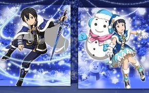 Picture girl, collage, anime, art, guy, Sword art online, Kirito