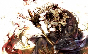 Picture blood, katana, blade, bandages, wounded, madman, Rurouni Kenshin, Hobo Kenshin, samurai x, Shishio