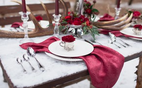 Picture flowers, table, roses, decor, serving