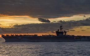 Picture sea, dawn, the carrier, USS, Carl Vinson, (CVN 70)