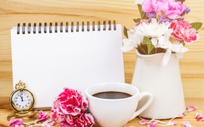 Picture flowers, coffee, bouquet, vase
