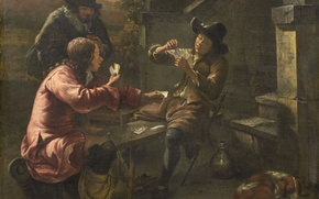 Picture oil, picture, canvas, genre, Johannes Natus, The Card players