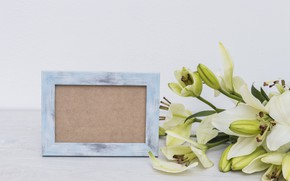 Picture bouquet, frame, white, Lily