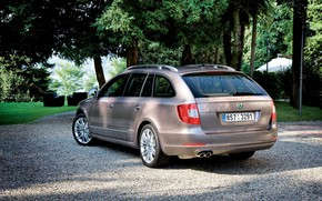 Picture trees, grey, lawn, vegetation, 2009, crushed stone, Skoda, universal, Skoda, Superb Combi