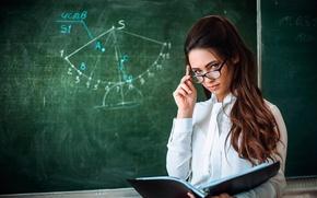 Picture glasses, blouse, the teacher, teacher, strict