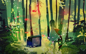 Wallpaper fish, lights, magic, barefoot, dress, TV, girl, bow, birch grove, alone in the forest