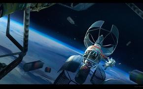 Picture planet, astronaut, final space art