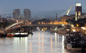 Picture road, trees, bridge, lights, river, home, the evening, lights, Italy, boats, court, Abruzzo