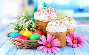 Picture flowers, eggs, Easter, glaze, eggs, cakes