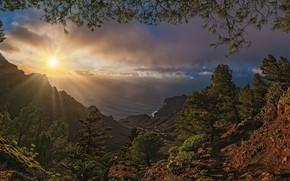 Picture The sun, Mountains, Sunrise, Landscape