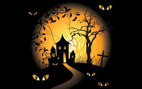Wallpaper holiday, scary house, black background, vector, vector art, moon, Halloween, eyes, trees, spooky, graveyards
