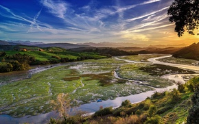 Picture sunset, mountains, river, field, Spain, forest, Cantabria