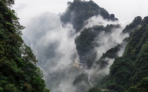 Picture road, forest, clouds, trees, mountains, fog, vegetation, curves, China, serpentine, China, Hunan province