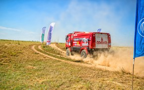 Picture Red, Dust, Sport, Truck, Race, Rally, Rally, The roads, 316, MAZ, Silk road, Silk Way, …