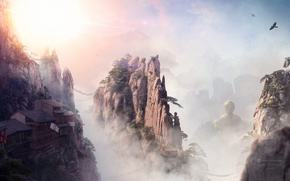 Picture the sky, clouds, trees, mountains, birds, bridge, rocks, home, Desktopography, sunrise in the valley