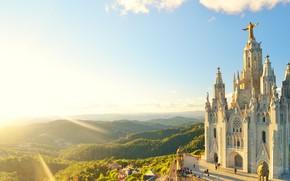 Picture cathedral, landscape, Spain, building