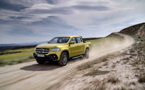Picture road, the sky, clouds, yellow, movement, vegetation, Mercedes-Benz, dust, pickup, primer, 2017, X-Class
