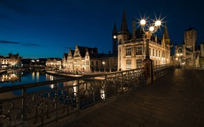 Picture night, the city, lights, Belgium, Ghent, Sint Michiels Bridge