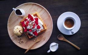 Picture coffee, chocolate, milk, strawberry, ice cream, nuts, dessert, sweet, wafer, peanuts