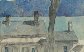 Picture figure, watercolor, Frederick Childe Hassam, Childe Hassam, Old House. Newburgh. New York